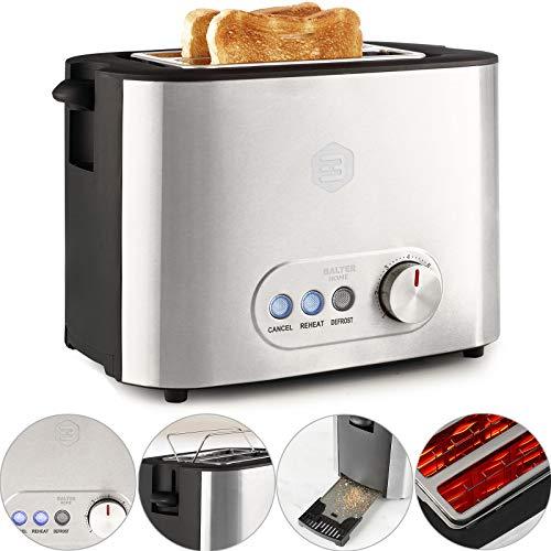 Balter Toaster 2 Scheiben ✓ Brötchenaufsatz ✓ Auftaufunktion ✓ Brotzentrierung ✓ Krümelschublade ✓ Edelstahlgehäuse ✓ Farbe: Silber Zwei Scheiben