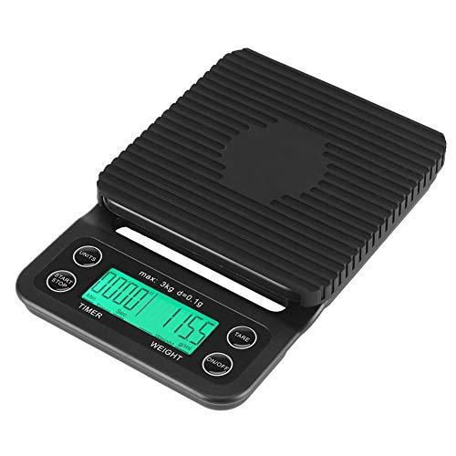 Fdit 3 kg/0,1g Digitale Lebensmittelwaage ABS Multifunktions Küche Digitalwaage Tasche Kochwaage mit LCD Display Zeit und Tara-Funktion Elegant Schwarz Batterien Nicht Enthalten Grün Licht