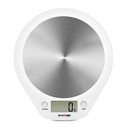ACCUWEIGHT Digitale Küchenwaage Haushaltswaage Digitalwaage elektronische Waage Briefwaage LCD Dislay, Präzise Waage bis zu 1g, 5kg, Edelstahl Plattform, weiß