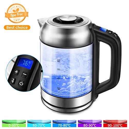 Morpilot Glas Wasserkocher Edelstahl,1.7 Liter Elektrischer Wasserkessel mit LED Innenbeleuchtung, Automatische Abschaltung Durch Strix Contoller, BPA Frei, Trockenlaufschutz, 2200W Transparent 1