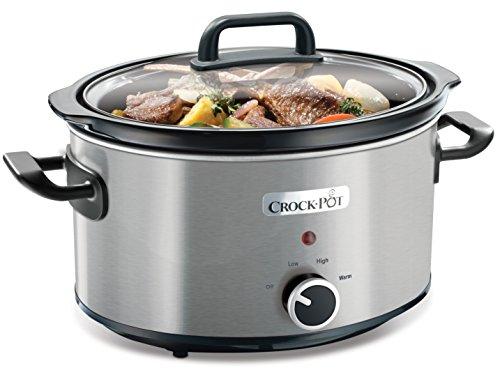 Crock-Pot CSC025X Schongarer – Das Original aus den USA | Slow Cooker 3.5 L | Warmhaltefunktion | mit Rezeptheft | Spülmaschinenfester Topf und Deckel | Edelstahl