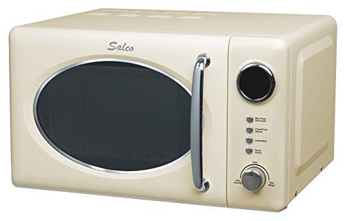 Salco Retro Mikrowelle mit Grillfunktion, 20 l, 700 W, Beige