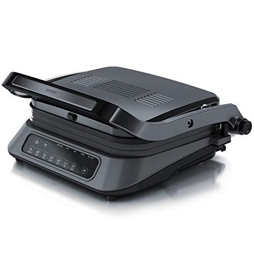GS – elektrischer Tischgrill Sandwichmaker – abnehmbare Platten Abtropfschale – Elektrogrill mit Digitalsteuerung 1900 W – 7 Programme – Arendo – Kontaktgrill – antihaft beschichtetes Edelstahl