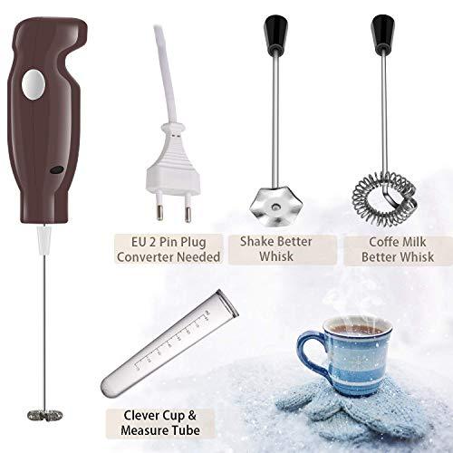 Milchaufschäumer Elektro-Handschaummaschine mit staubdichtem Turbo für Kaffee, Latte, Cappuccino, heiße Schokolade, Durable Drink Mixer mit 2 Edelstahl-Schneebesen, 1 Messrohr Clever Cover coffe
