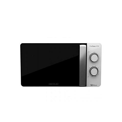 Cecotec Pro Clean 3110 Mikrowelle 700 W Mit Quarz Grill 800 W Garraum 20 L Frontspiegeltür Innenlicht 3D Wave Ready 2 Clean Beschichtung 30 Min Grarzeit Timer 6 Stufen 2 Drehregler In Silber Schwarz