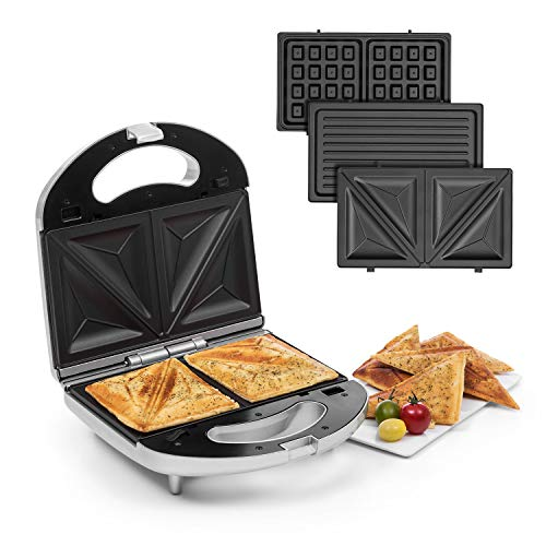 Klarstein Trilit 3-in-1 Sandwich Maker Panini Maker Kontaktgrill Waffeleisen, 750 Watt, 3 austauschbare Aluminium-Grillplatten, Anti-Haft-Beschichtung, rutschfest, Kunststoff-Gehäuse, silber