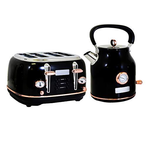 Charles Bentley Wasserkocher und Toaster in Schwarz & Roségold Hergestellt aus Rostfreiem Stahl – 1.7L – Schnell Kochend Leicht zu Reinigen