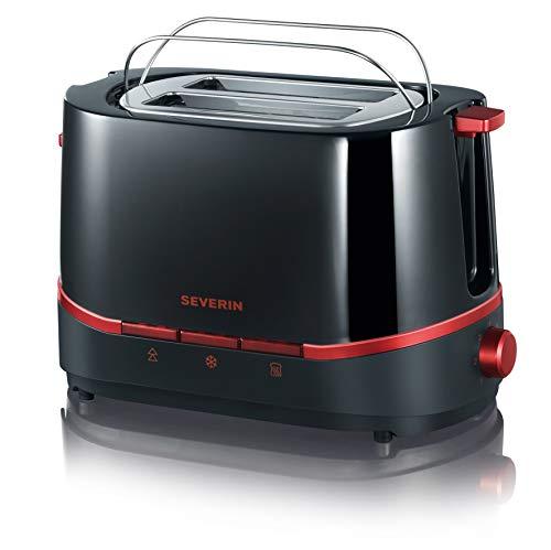 SEVERIN Automatik-Toaster, Inkl. Brötchen-Röstaufsatz, 2 Röstkammern, 800 W, AT 2292, Schwarz/Rot