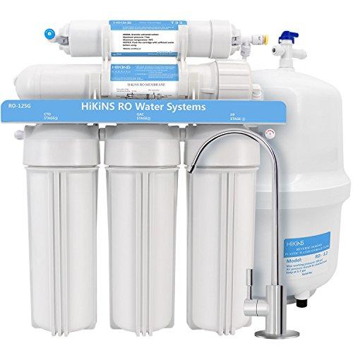hikins Umkehrosmose Wasser Filtration Systems ro-125g 5 stufige Home Trink RO-System mit großen Flow 125 GPD Membran und Wasser spart