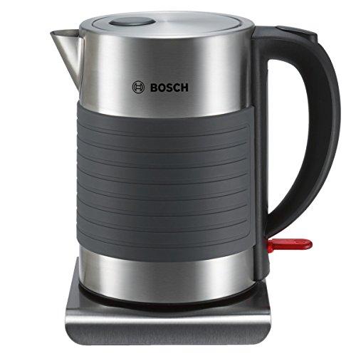 Bosch TWK7S05 kabelloser Wasserkocher Abschaltautomatik, Überhitzungsschutz, Dampfstopp-Automatik, einfache Reinigung, 2.200 Watt schwarz/grau