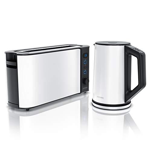 Edelstahl Wasserkocher mit Temperaturstufen 1,5L und Langschlitz Toaster für 2 Scheiben Toast und Brötchenaufsatz Weiß – Arendo