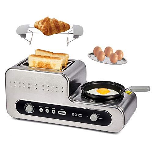 Rozi  Toaster 5 in 1 mit Bratpfanne  2 Scheiben Toaster Multifunktion mit 6 Gang Verstellung Automatische Frühstücksmaschine für Toaster/Backen/Dampf/Kochen/Braten, 1230W Silber