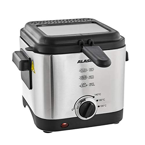 Alaska DF900 Friteuse | Edelstahlgehäuse | 900 Watt | 1,35 l Ölbehälter | Antihaftbeschichteter Frittierbehälter | Herausnehmbarer Frittierkorb
