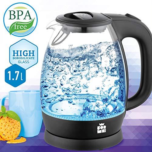 ForMe Glas Wasserkocher 1.7 L Blau LED Glaskessel Edelstahl Boden I Glaswasserkocher BPA Frei Teekessel FKG-147