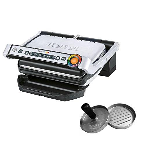 Tefal OptiGrill inkl. Hamburgerpresse GC702D.HB Kontaktgrill 2.000 Watt, Standard-Modell, automatische Anzeige des Garzustands, 6 voreingestellte Grillprogramme schwarz/edelstahl