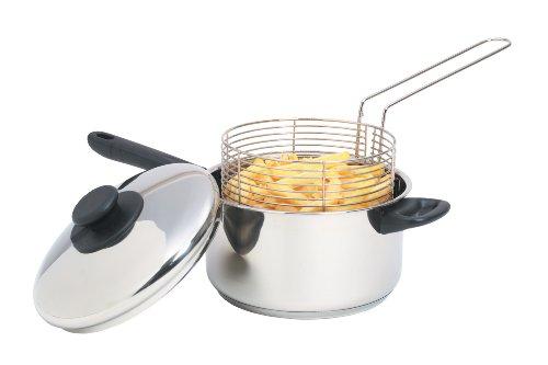 Kitchen Craft Großer Pommes-Topf mit Frittierkorb und Deckel, für Induktionskochfelder geeignet, Edelstahl, Silber, 1 cm