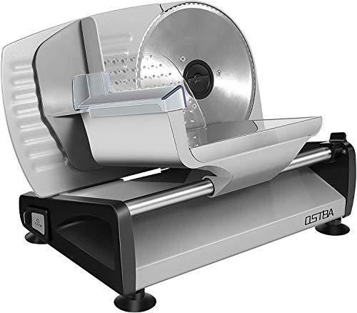 Allesschneider, elektrische Allesschneider rostfreies Edelstahlmesser, Wurstschneidemaschine mit einstellbare Schnittstärke 0-15mm Käseschneidemaschine, Brotschneidemaschine, 200 W, Silber, OSTBA