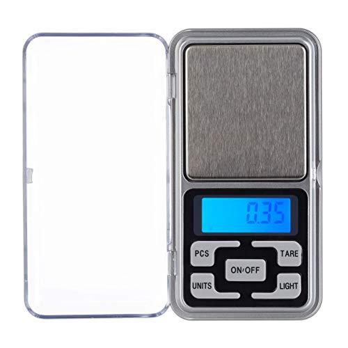 Relaxdays Digitale Feinwaage, bis 200 g, 0,01 g Schritte, Tara-& Zählfunktion, kalibrierbar, Mini Taschenwaage, Silber, 1 Stück
