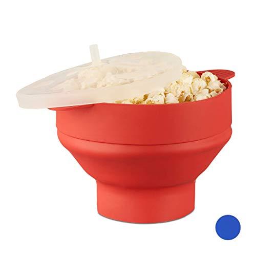 Relaxdays Popcorn Maker Silikon für die Mikrowelle, zusammenfaltbarer Popcorn Popper, Zubereitung ohne Öl, BPA-frei, rot