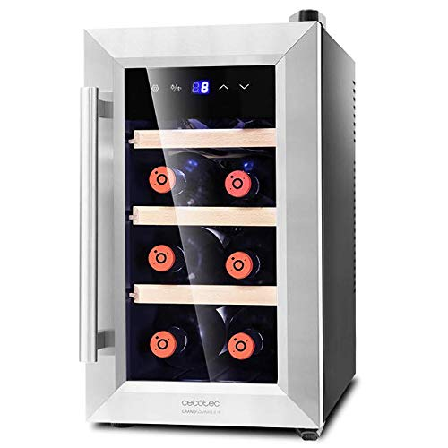 Cecotec Weinkühlschrank von 8-16 Flaschen. Tür aus Kristall- Design, Paneel Taktil und LED Bildschirm. 8, Holz