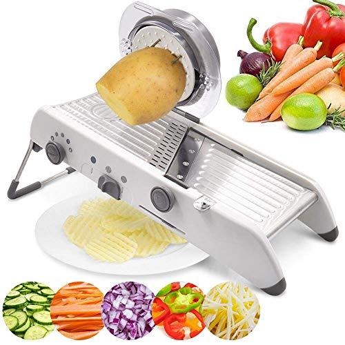 Weiß – DDYX2020 18 Arten Einstellbare Mandoline Slicer, Gemüsehobel, Edelstahl Manuelle Cutter, Waffel, Küche, Julienne Obst, Kartoffelschneider