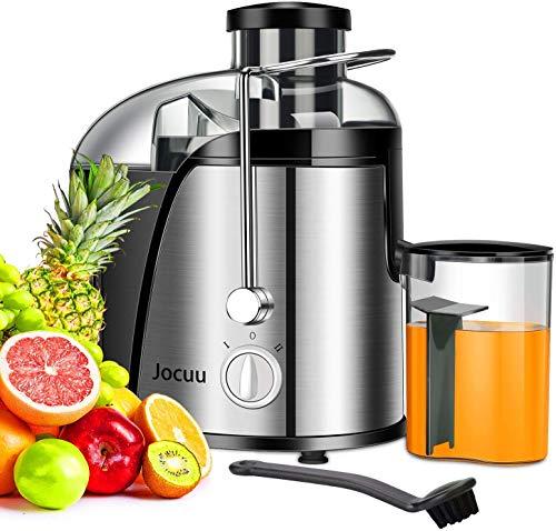 Entsafter, elektrisch Zentrifugaler Entsafter für Obst und Gemüse, 2 Geschwindigkeitsstufen und Überhitzungsschutz, Anti-Shake-Design, Saftbehälter und Reinigungsbürste, BPA Frei, Von Jocuu