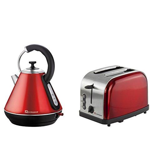 Rot – Kabelloser Wasserkocher und Toaster-Set, Edelstahl
