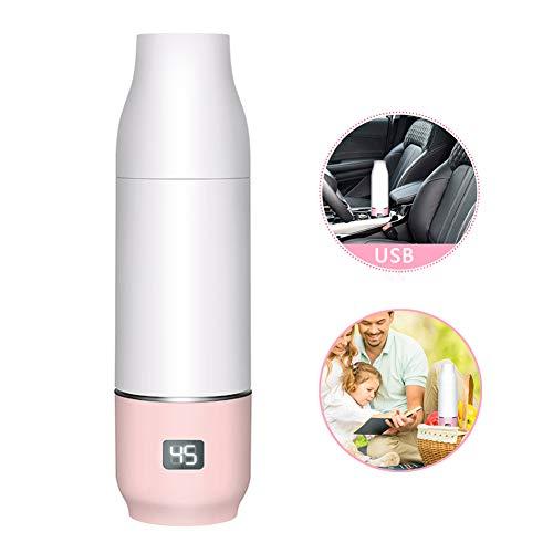 Rabbfay USB Aus Tragbar Baby Flaschenwärmer Mit Eingebaut 2550Mah Lithium Batterie, Reise Flasche Wärmer Elektrisch Baby Milch Wärmer Multifunktional Essen Wärmer,Pink