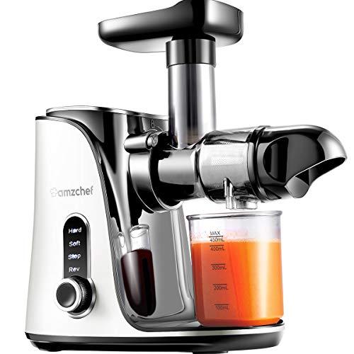 AMZCHEF Entsafter Slow Juicer leistungsstarker Entsafter für Obst und Gemüse mit 2 Geschwindigkeitsmodi, 2 Reiseflaschen 500 ml, LED-Anzeige, Reinigungsbürste und Ruhiger Motor,Weiß