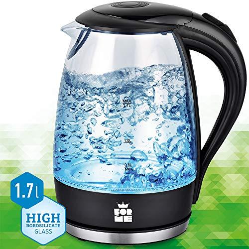 ForMe Glas Wasserkocher 1.7 L Blau LED Glaskessel Edelstahl Boden I Glaswasserkocher BPA Frei Teekessel FKG-127