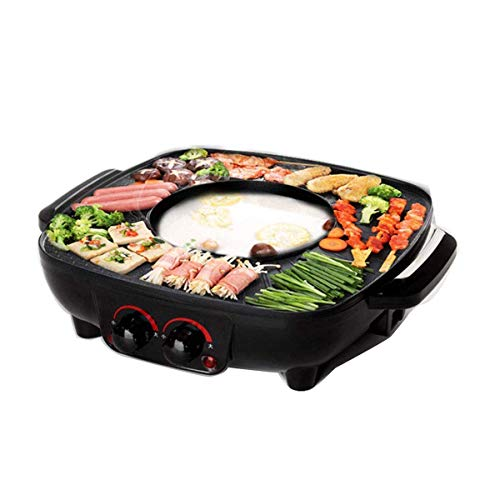 Grill Und Hot Pot Doppeltopf, Integrierte Kochtopf, 40.5 CM Grillplatte, Elektrogrill Barbecue Und Asia Fondue, Fettarmen Und Gesunden Grillen, 1700 W, Schwarz
