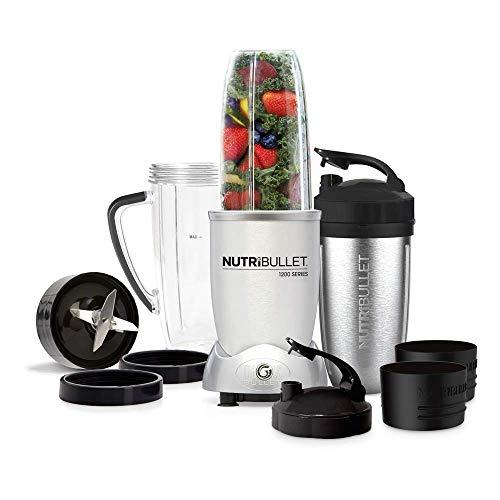 NutriBullet Max 1200 watt Series – Nährstoff Extraktor, Gesundheits-Set, 25.000 Upm Smoothie Maker, Mixer – 12-teilig – Silber